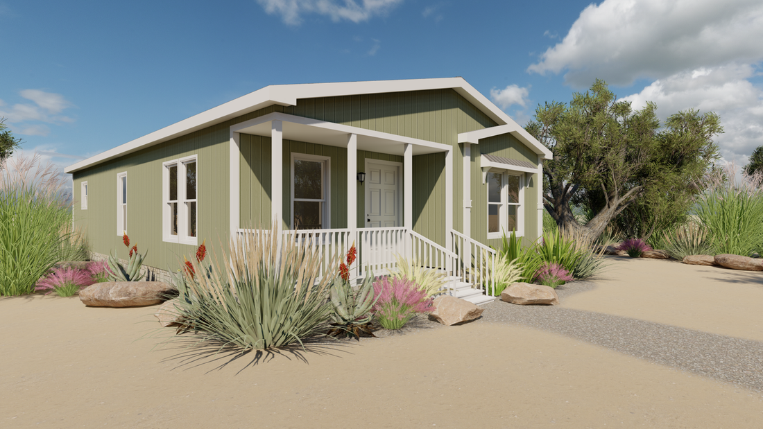The THE PALMER 28 Exterior. This Manufactured Mobile Home features 2 bedrooms and 2 baths.
