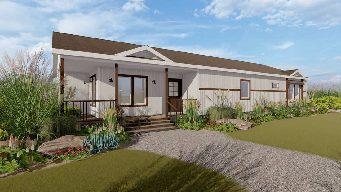 The LILY-MAE Exterior. This Manufactured Mobile Home features 3 bedrooms and 2 baths.