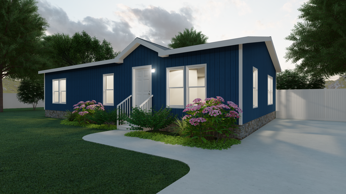 The THE HOGAN 28 Exterior. This Manufactured Mobile Home features 3 bedrooms and 2 baths.