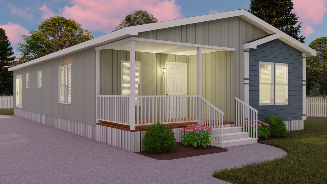 The THE PLAYER 28 Exterior. This Manufactured Mobile Home features 3 bedrooms and 2 baths.