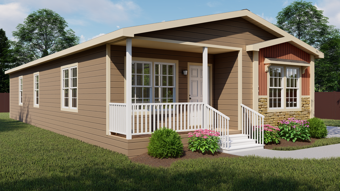 The THE NELSON 28 Exterior. This Manufactured Mobile Home features 3 bedrooms and 2 baths.