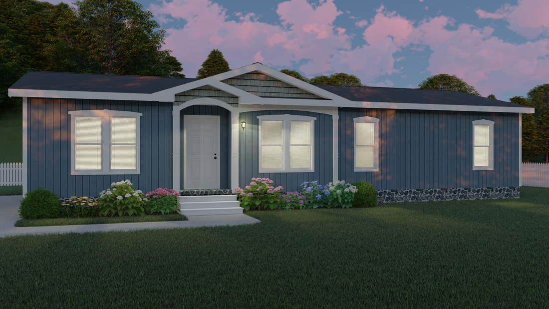 The THE TRENTON 28 Exterior. This Manufactured Mobile Home features 3 bedrooms and 2 baths.