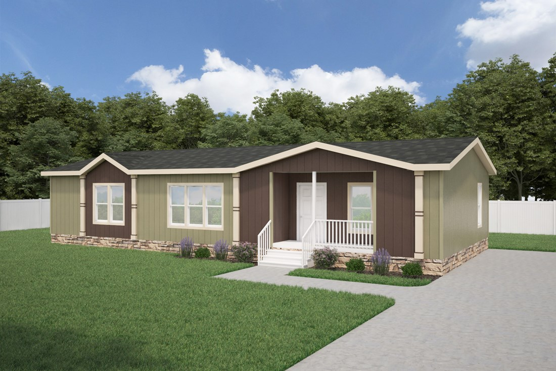 The THE WILLIAMSBURG 32 Exterior. This Manufactured Mobile Home features 3 bedrooms and 2 baths.