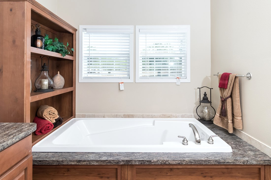 The THE TYLER Master Bathroom. This Manufactured Mobile Home features 3 bedrooms and 2 baths.