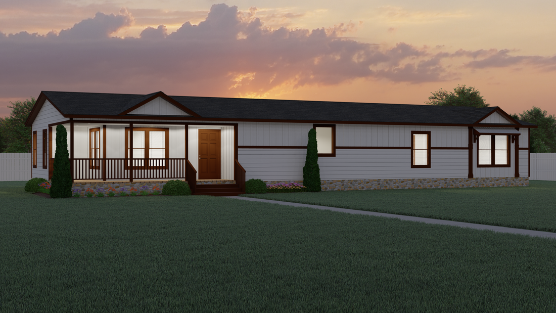 The THE LEXI MAE Exterior. This Manufactured Mobile Home features 4 bedrooms and 2 baths.